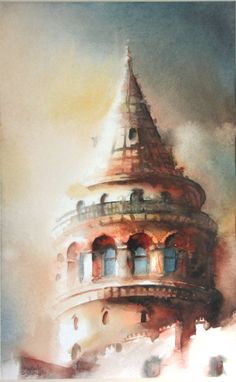 Istanbul Galata Tower – makbule dizdaroğlu – Join the world of pin Watercolor Sketchbook, Watercolor Illustration, Watercolor Paintings, Watercolor Drawing, Turkish Art, Gravure, Architecture, Art Pictures, Diy Art