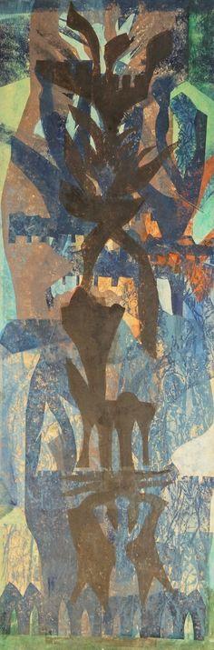 Niet gesigneerd, gemenegde techniek, abstracte compostie in de trant van H.N. Werkman, 69 x 23.5 cm.