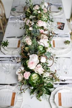 Blush and Green Tones // Rustic Wedding Decoration Inspiration // Winter Wedding Table setting // Greenery and Blush Wedding Decor Green Wedding, Floral Wedding, Wedding Colors, Rustic Wedding, Wedding Flowers, Flower Runner Wedding, Wedding Country, Table Garland, Wedding Decorations