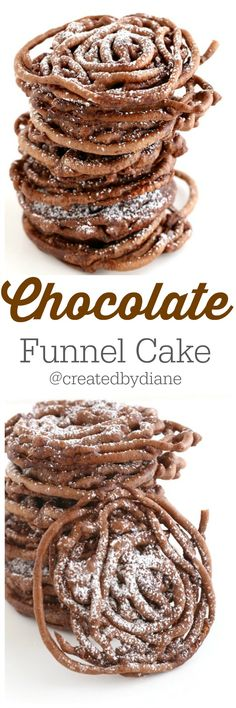 chocolate funnel cake is rich and delicious and perfect anytime. Great for a fast dessert. Easy Desserts, Delicious Desserts, Dessert Recipes, Yummy Food, Cake Recipes, Frosting Recipes, Healthy Food, Churros, Beignets