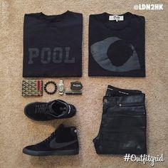 Today's top #outfitgrid is by @ldn2hk. ▫️#Pool #Crewneck ▫️#CommedesGarcons #Tee ▫️#SaintLaurent #Denim ▫️#Nike x #CDG #flatlay #flatlayapp #flatlays