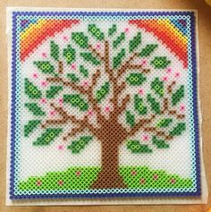 Perler Bead Rainbow Tree Pattern