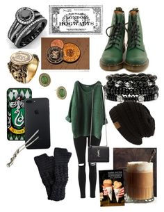 """""""Hogsmeade trip"""" by childofolympus-1 ❤ liked on Polyvore featuring Alexander McQueen, Topshop, Dr. Martens, 1928, Mixit, NOVICA and Yves Saint Laurent"""
