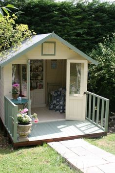 Lovely and Cute Garden Shed Design ideas for Backyard Part 29 ; garden shed ideas; garden shed organization; garden shed interiors; garden shed plans; garden shed diy; garden shed ideas exterior; garden shed colours; garden shed design Garden Shed Diy, Garden Cottage, Garden Playhouse, Girls Playhouse, Garden Houses, Outdoor Sheds, Outdoor Rooms, Summer House Garden, Summer Houses