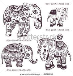 Set of hand drawn isolated ethnic elephants - stock vector