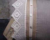 Items similar to Linen and vinatge lace cushion on Etsy
