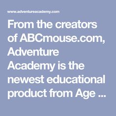 From the creators of ABCmouse.com, Adventure Academy is the newest educational product from Age of Learning Inc. featuring endless game play. Adventure Academy is an educational product that combines an Elementary School curriculum with an interactive 3D world. Sign up to buy or get the latest news! Adventure Academy combines an Elementary School curriculum with an interactive 3D world that provides the perfect environment for contextual learning. An epic learning adventure awaits! Experience t Home Learning, Learning Resources, Learning Tools, Educational Activities, Educational Technology, Reading Activities, Abc Mouse, Force And Motion, School Subjects