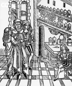 Woodcut Print of a Scene in a Medieval Apothecary Shop