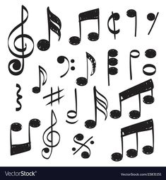 Music note doodles sketch musical hand vector image on VectorStock