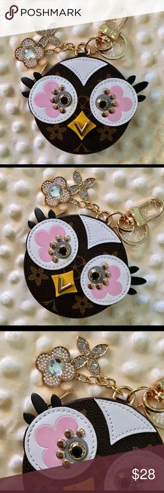 NEW! Pretty Monogram Owl Coin Purse & Keychain! NWOT! Inspired Round Pretty Owl Coin Purse and Keychain/Bag Charm! Monogram material with whimsical owl design and pink flower eyes! Good quality! Has gold tone Lobster Claw Clasp with sparkly dangles and rivets. I bought this for myself, and realized it's a bit too small for my needs. Can hold money, coins and maybe a lipstick. From a non-smoking home! Accessories Key & Card Holders