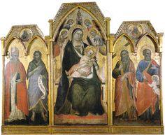 Spinello Aretino - Trittico della Madonna in trono e santi - tempera e oro su tavola - 1391 - Galleria dell'Accademia a Firenze.