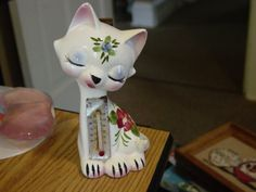 Vintage Hand Painted Enesco Ceramic Cat Thermometer Figurine