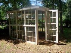 I have lots of old windows!  I've always wanted a little greenhouse...hmmm...I have four sons and one husband...hint, hint