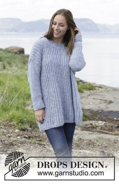 Knitted jumper with false English rib. Size: S - XXXL Piece is knitted in DROPS Air. Free knitted pattern DROPS 184-1