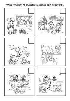 Aprendizagem Afetiva: O Patinho Feio - Varal de história e atividades Sequencing Worksheets, Story Sequencing, Sequencing Pictures, Sequence Of Events, Alphabet Cards, Preschool Learning Activities, Picture Story, Teaching Spanish, Stories For Kids