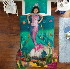★ first grade children's room ★ single adults are OK! Dudley Mermaid Mermaid duvet bed kids, kids ' and junior bedding bed set quilt + pillow cover LA latest imported from