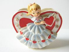 Vintage Lefton Valentine Girl Heart Planter Vase