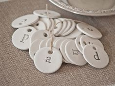 Antique Farmhouse Individual Handmade Typography Clay Tag A - Z