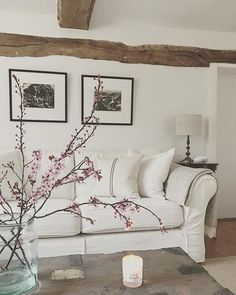 A little more blossom to cheer a stormy Sunday morning. Have a lovely day x . Cottage Living Rooms, Living Room Decor, Bedroom Decor, Country Cottage Interiors, Country Interior, Snug Room, Room Color Schemes, Pretty Bedroom, Front Rooms