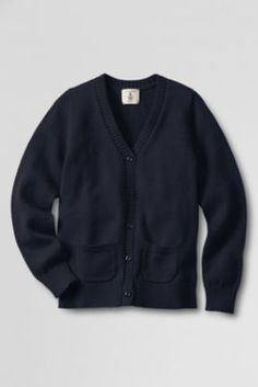 Girls' Button-front Drifter Cardigan Sweater from Lands' End