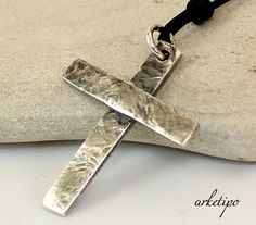 Personalized hammered sterling silver Cross Necklace by Arketipo