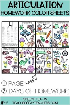 Articulation homework coloring sheets that last a whole week! Students will love coloring while practicing their speech sounds. This is speech therapy homework made easy! Articulation activities can be fun! Click for more info.