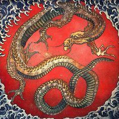 Katsushika Hokusai Matsuri Yatai Watercolor Dragon
