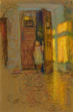 LEONID PASTERNAK  -  Lydia Pasternak as a child in a doorway  Moscow c1906; coloured chalks on buff paper.