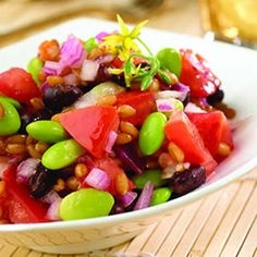 Make this colorful wheatberry salad gluten-free by using quinoa or rice and gluten-free soy sauce