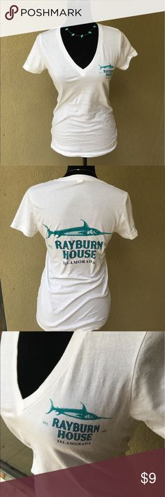 """🆕White Rayburn House tshirt White Rayburn House vneck tshirt. Are you a Netflix original Bloodline fan? Show has been filmed in the Keys in Florida for the past three seasons. Islamorada, Key Largo to name only a couple. EUC besides small mark on inside of tshirt see last pic.Bust laying flat armpit to armpit 16"""" length 26"""". I also have this in a grey small version see other listing. ✅I ship same or next day ✅Bundle for discount Bella Canvas Tops Tees - Short Sleeve"""