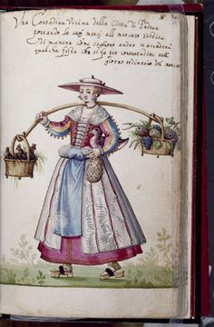 Leaf from Book of Italian Costumes 1588, similar to something seen in Cesare Veccellio's engravings of world fashion