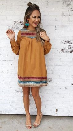Mustard long sleeve shift dress with tribal print embroidery detail. Source by ChristStein sleeve dress fall Mode Outfits, Fall Outfits, Fashion Outfits, Fashion Trends, Womens Fashion, Fashion Tips, Cute Dresses, Casual Dresses, Dresses With Sleeves