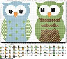Owls. Sewing pattern graph: cross stitch, plastic canvas.