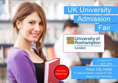 "Are you an International Student and Looking for University Admission?  University of the West of England is Going to Attend ""UK University Admission Fair"" on Tuesday 27 June 2017.(12-5pm) Meet Face to Face, Scholarship Available* Venue: Arbor City Hotel, London E1 6TE (Aldgate East..."