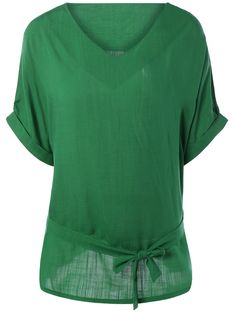 Plus Size Belted Loose Linen Blouse in Green | Sammydress.com