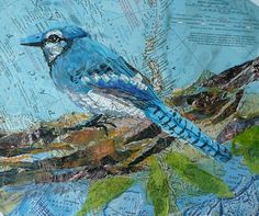 Blue Jay MAP / PAPER COLLAGE - by Susan Schenk
