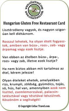 Hungarian Gluten Free Restaurant Card