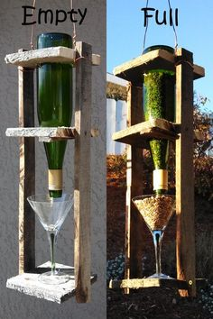 Wine bottle bird feeder! We made this from an old pallet, an empty wine bottle, and thrift store martini glass (plus a little leftover copper wire for hanging). {wineglasswriter.com/}