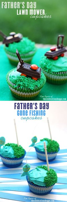 Make these fun Father's Day Gone Fishing Cupcakes complete with a chocolate fish on a fishing pole! For more Father's Day ideas and creative cupcake ideas join Kim Byers at The Celebration Shoppe! Fathers Day Cupcakes, Fathers Day Cake, Cute Cupcakes, Cupcake Cookies, Birthday Cupcakes, Party Cupcakes, 2nd Birthday, Holiday Treats, Holiday Recipes