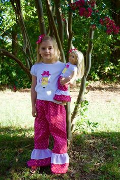 Matching Girl Doll Clothes;Dollie And Me;Back 2 School;School Shirts;Girl Doll Clothes;Boutique Pants;Ruffle Pants;1st Day Of School by…