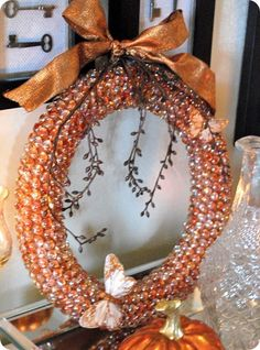 autumn gemstone wreath