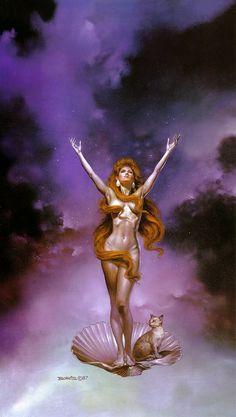 "Boris Vallejo cover for Robert Heinlein,  ""Venus On The Half Shell""."