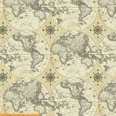 Renaissance man world map mapping skills cotton fabric print by the renaissance man world map mapping skills cotton fabric print by the yard d58231 needful things pinterest renaissance men renaissance and yards gumiabroncs Images