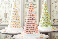 The croquembouche is the quintessential French wedding cake, a towering confection of cream-filled puff pastry. The three pastel towers shown here were made by Ladurée
