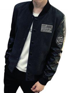 Men's PU Leather Paneled Patchwork Bomber Jacket AZBRO.com