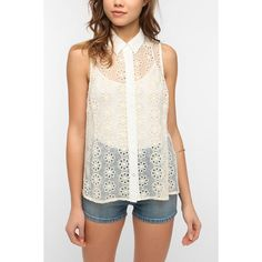 Pins And Needles Sleeveless Eyelet Blouse ($30) ❤ liked on Polyvore
