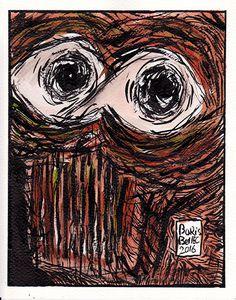 dessin d'un portrait en couleurs de l'artiste boris bellec art hors norme