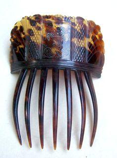 Georgian pre ban tortoiseshell hair comb with pique inlay hair accessory