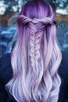 purple pastel hairstyle | ombre | cotton candy | long curly hair | curls | crown braids | fishtail