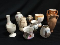 MIXED LOT OF MINIATURE BUD VASES, TOOTHPICK HOLDERS AND EGG CUPS. THIS LOT INCLUDES A VINTAGE ROOSEVELT/CHURCHILL PIECE BY ROYAL WINTON (WITH HAIRLINE), A MINIATURE CAPODIMONTE 3.5 INCH URN, LUSTREWARE, LIMOGES AND MORE.